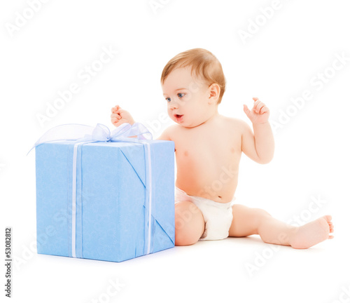 happy child with gift box