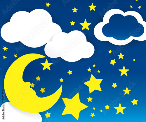 Moon and stars with white clouds