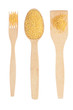 Wooden spoon, fork, paddle with millet