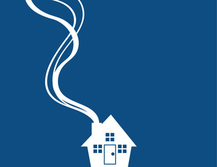 Minimal blue house with smoke coming from chimney
