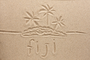Fiji handwritten in sand for natural, symbol