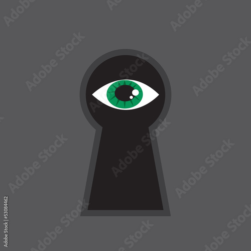 Eye looking through large keyhole