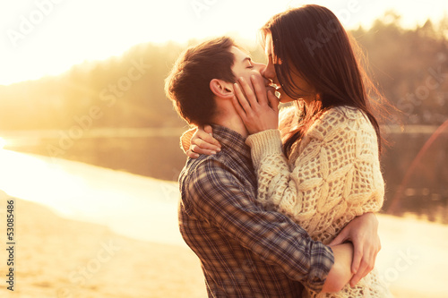 Young couple in love outdoor
