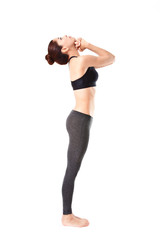 woman making a Yoga pose: Standing deep breathing - Pranayama
