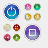glossy multimedia control/icon buttons