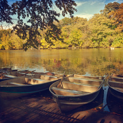 Boats over lake in Central Park, New York, USA.