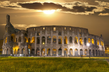 The Colosseum by night.