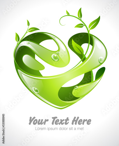 Vector illustration of a stylized heart with leaves