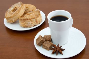 coffee cup and puff pastry