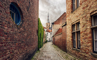Narrow street in Bruges, Belgium