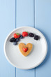 Overhead Fruity Heart Pancake
