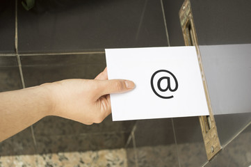 hand and Email Symbol