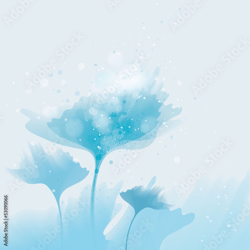 Blue flowers under the surface / Abstract blooms from water