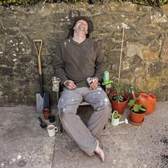 The Grubby, Snoozing, Happy Gardener.