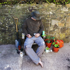 The Grubby, Dozing, Gardener.