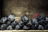 Black trash bags piled up against grungy urban wall