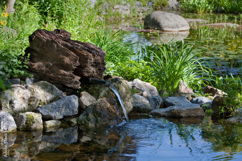 Papiers peints Jardin Gartenteich mit frischer Quelle