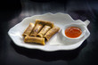 """Spring rolls"" (Dim sum or Loempia), cuisine on the table."