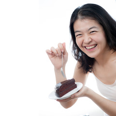 A asian girl with Happy time to eat Chocolate