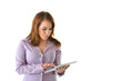 Business Woman With Finger on Tablet Computer