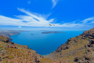 Greece Santorini island in Cyclades,  beautiful  wide view of th