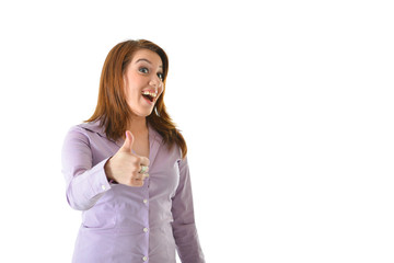 Excited Business Woman Thumbs Up