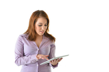 Business Woman Pointing at Tablet Computer