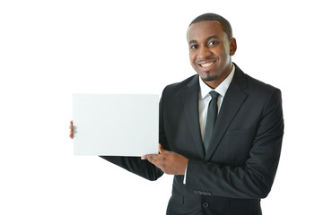 Businessman Holding Small White Board