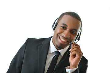 Customer Service Representative Holding Mic