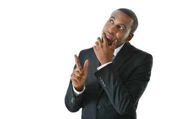 Businessman Thinking and Pointing