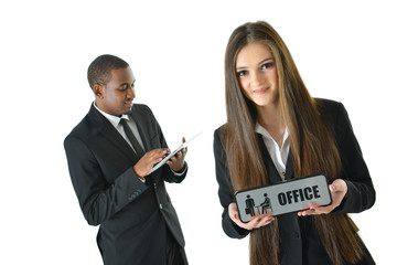 "Woman Holding ""Office"" Sign"