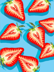 vector of strawberry slices on blue background