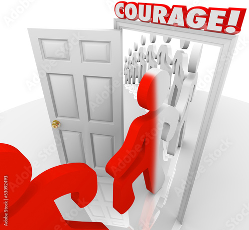 Brave People Marching Through Courage Door Fearlessness