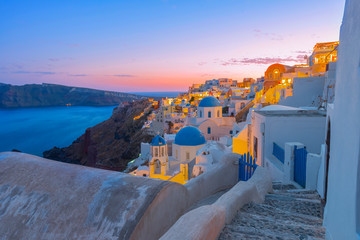 Greece Santorini island in Cyclades,  wide view of white washed