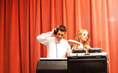 Newlywed Couple DJing