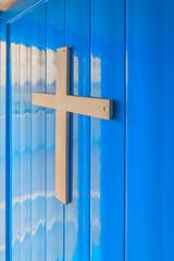 Greece Santorini island in Cyclades, church cross closeup view o