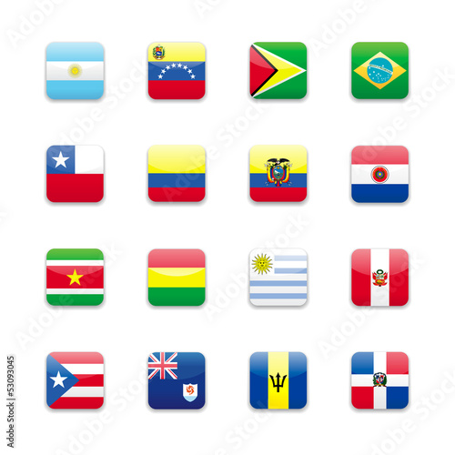 South America flags round icon