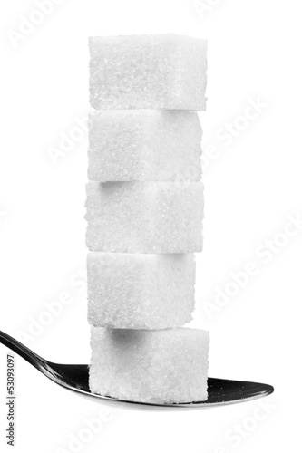 cube sugars in teaspoon isolated on white