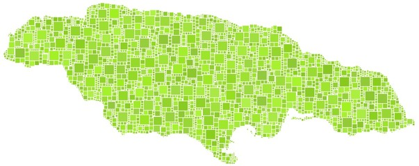 Map of Jamaica - America - in a mosaic of green squares
