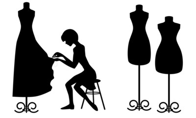 Silhouettes designer and mannequins