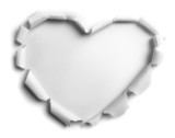 white torn paper with heart shape