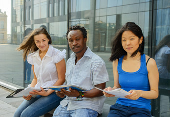 Group portrait of african, asian and european university student