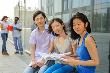 Group portrait of asian university students