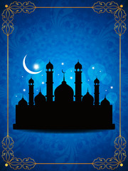 Artistic religious eid background with mosque.