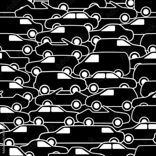 Seamless pattern with cars. Vector illustration.