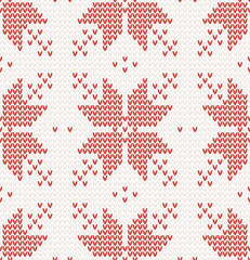 Seamless pattern with Red stars in Norwegian style