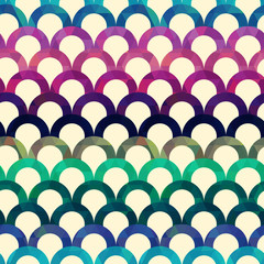 seamless retro scallop vector background