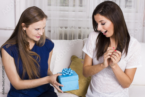 Two beautiful girlfriends giving present to each other