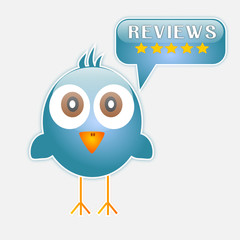Blue bird with reviews buttons