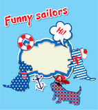 Card with funny scottish terrier dogs  - sailors, anchor, lifebu